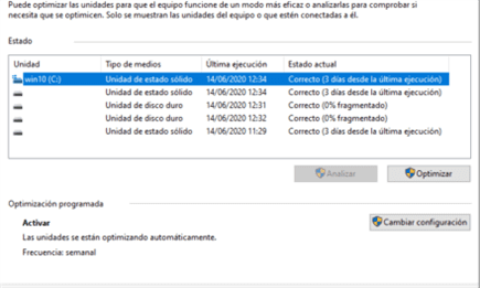 Windows 10, Defrag y los SSD