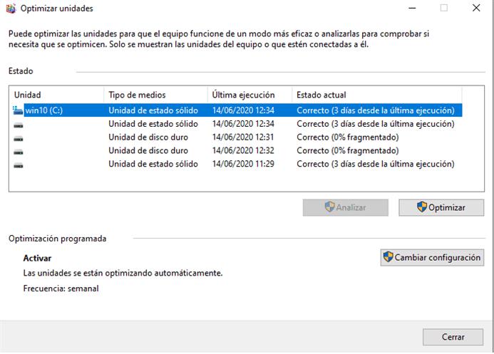 Windows 10, Defrag y los SSD
