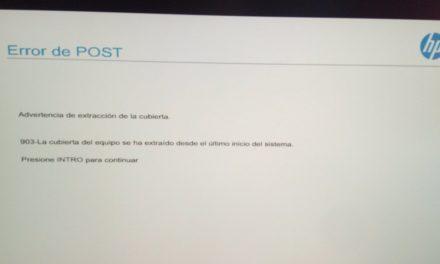Ordenadores HP – error de post – 903 Extracción de cubierta